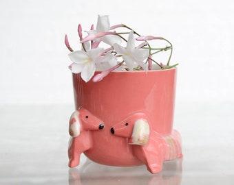 Dachshund Planter Flower Pot Red