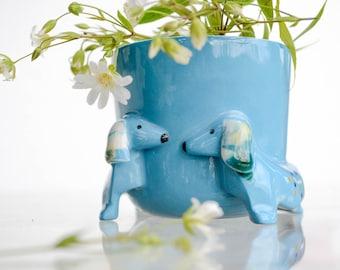 White Dog flower pot Ceramic Planter Dachshund Sculpture, dachshund flower pot cactus planter, Small ceramic dog vase perfect for succulent