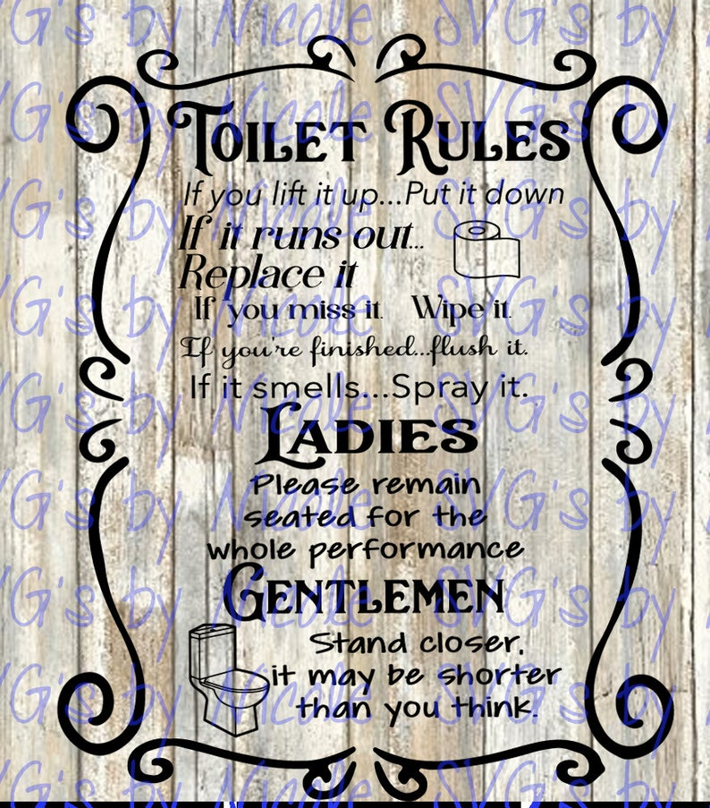 Toilet rules SVG image 0