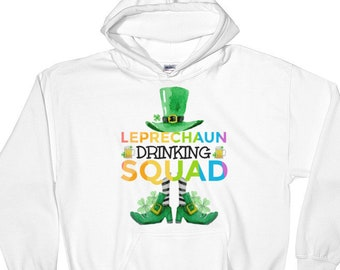 St PATRICKS DAY/Leprechaun Drinking Squad/Beer Team/Drinking/St Pats Day/Lucky/Rainbow/Irish/Men/Women/Sizes S-5 XL Hoodie Hooded Sweatshirt