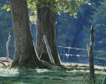 Peinture paysage aux deux chênes . Huile sur toile