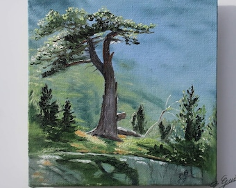 Oil painting of the Marcadau Valley, Pyrenees. Painting Bernard Guédon.Mini hand-painted canvas.