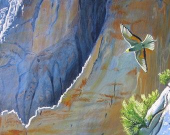 Peinture animalière , oiseau Guêpier en vol. Huile sur toile