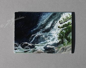 Peinture à l'huile  ACEO  cascade de montagne sur papier toile , mini peinture  originale de Bernard Guédon.