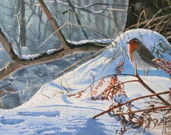 Animal painting bird red throat in oil on canvas . Bernard Guédon animal painter nature