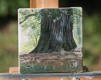 Oil painting at the foot of the oak tree. Painting Bernard Guédon.Mini hand-painted canvas.