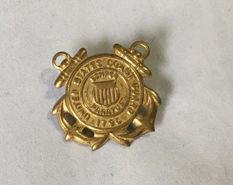 Vintage United States Coast Guard Military Pin Semper Paratus With Screw On Back