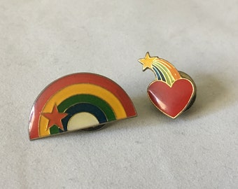 1980s Rainbow Pins Pinbacks Heart Star