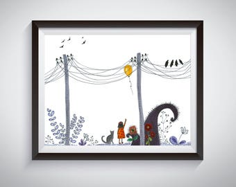 The little girl and her cat pen and ink illustration art print