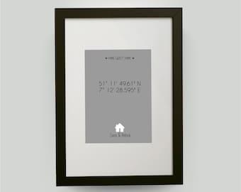 din a4 rahmen personalisiertes bild mit haus einzugsgeschenk richtfest umzugsgeschenk einweihungsgeschenk mit koordinaten und namen
