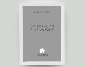 din a4 personalisiertes bild mit haus einzugsgeschenk umzugsgeschenk einweihungsgeschenk geschenk zum einzug mit koordinaten und namen
