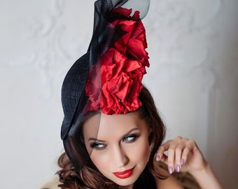 05086a7c21097 Exclusive black hat with flowers for racing Opera Royal wedding Woman hat  Royal ascot Wedding hat Ascot hat Derby Fascinator hat Church hat