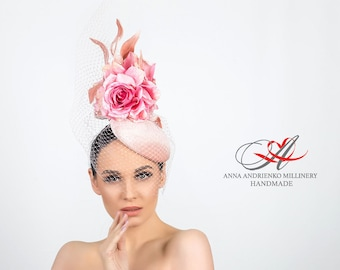 2355f0f09a359 Pink evening hat tablet with a veil