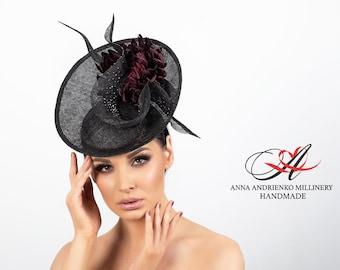 "Designer hat for racing ""Black Chrysanthemum"" Royal wedding hat Royal ascot hat Derby hat Fascinator hat Church hat Black hat Kate Middleton"