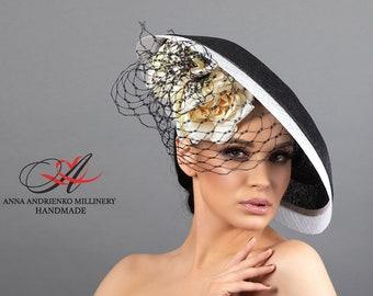 "Black designer hat for racing with flowers ""Wales"" Wide brim black woman hat Royal wedding hat Royal ascot hat Derby hat Fascinator hat"