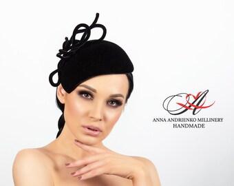 "Black evening velvet hat with a veil ""Megan Knight"" Royal wedding hat Woman hat Royal ascot hat Derby hat Church hat Handmade black hat"