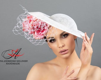 """White designer hat for racing with flowers """"Somerset"""" Royal wedding hat Woman hat Royal ascot hat Derby hat Sinamay hat Handmade hat Rose"""