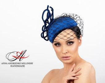 "Dark blue evening velvet hat with a veil ""Megan"" Royal wedding hat Woman hat Royal ascot hat Derby hat Velvet hat Veil hat Fashion hat"