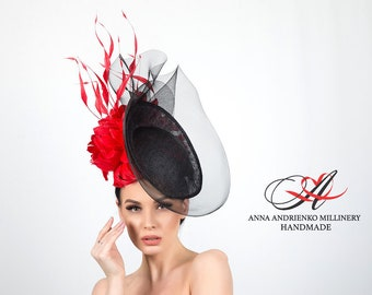 """Exclusive black hat with red feathers """"Passion"""" Royal wedding hat Woman hat Royal ascot hat Derby hat Fashion hat Handmade hat Red black hat"""