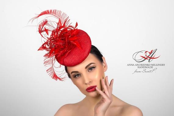 Red Headpiece Kentucky Derby hat Matilda Royal Ascot hat Black Headpiece. Feather Headpiece