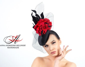 """Black evening hat tablet with a veil and red flowers """"Evelyn"""" Royal wedding hat Woman hat Royal ascot hat Derby hat Black Red hat Handmade"""