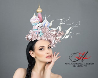 """Hat """"St. Basil's Cathedral"""" Royal wedding Woman hat Royal ascot Wedding hat Ascot hat Derby Fascinator hat Church hat Gift for her"""
