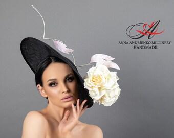 "Black designer hat for racing with a flower ""Hardy"" Royal ascot hat Wedding hat Woman hat Derby hat Fascinator hat Kate Middleton hat"