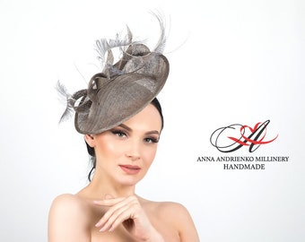 """Gray evening hat for a holiday """"Elegance"""" Royal wedding hat Woman hat Royal ascot hat Derby hat Fascinator hat Sinamay hat Handmade hat"""