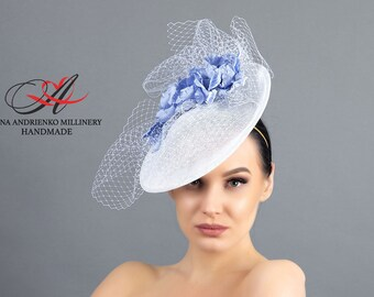 """Evening hat for a holiday and for races of white color """"Light blue flowers"""" Royal wedding hat Ascot hat Derby hat Church hat Handmade hat"""