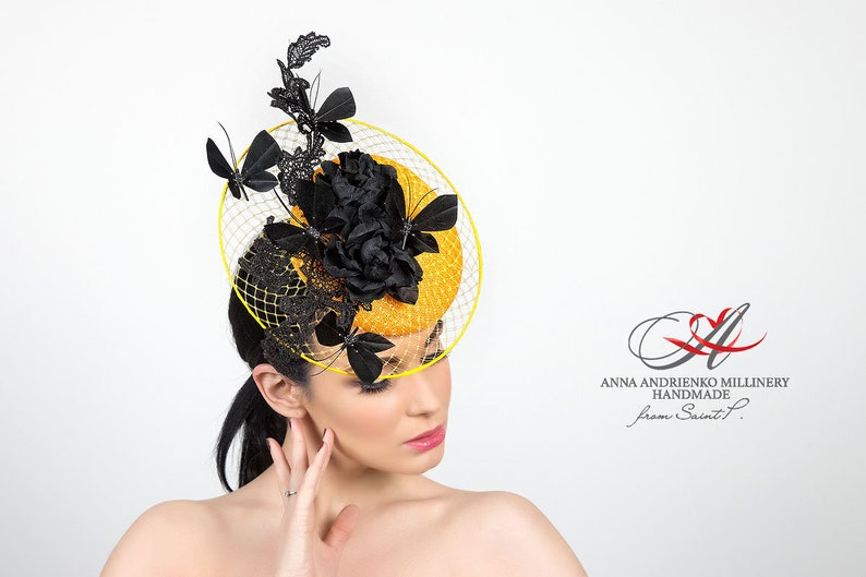 6284d6425d48d Yellow evening hat with flowers Butterfly Dance