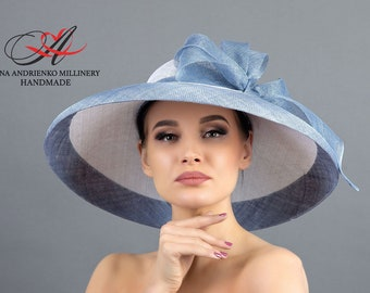 Light blue and white wide-brimmed hat for horse racing and parties «Provence» Royal wedding ascot Wedding hat Ascot hat Derby Church hat