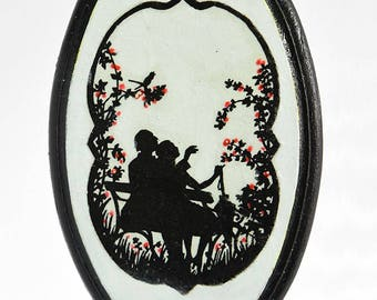 Decorative-wood-decoupage-handmade-hand painting- black and white-panel-couple-flowers-gift-home-ricepaper