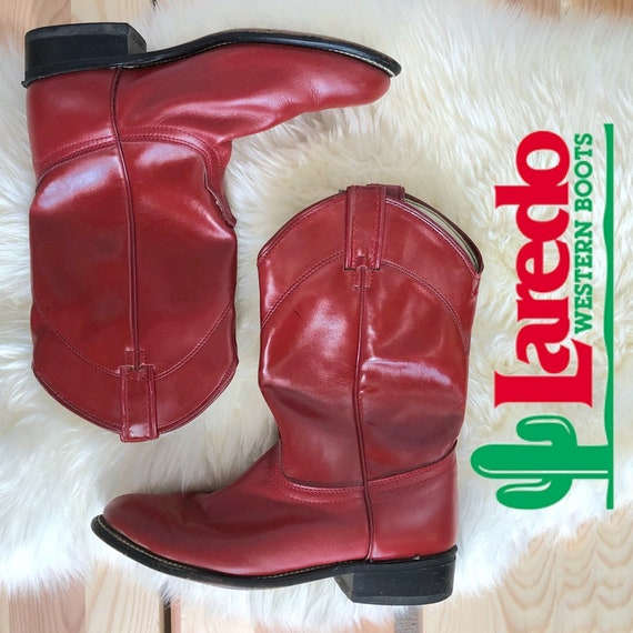Vintage Laredo Red Leather Roper Cowboy Boots