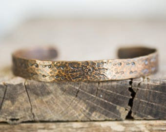 Copper Cuff Bracelet with Hand Carvings