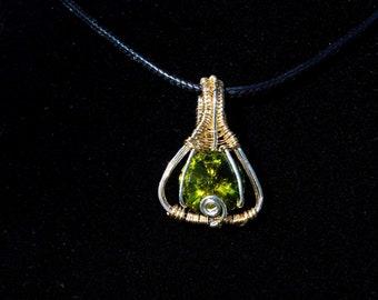 Goldfill and Sterling Silver Heady Wrapped Olive Green Swarovski Rivoli