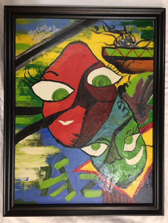 PABLO PICASSO CUBIST PORTRAIT PAINT RE PRINT ON FRAMED CANVAS 3 panels