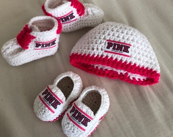 ec18b09b1 Hot pink sneakers loafers and hat inspired Crochet Baby