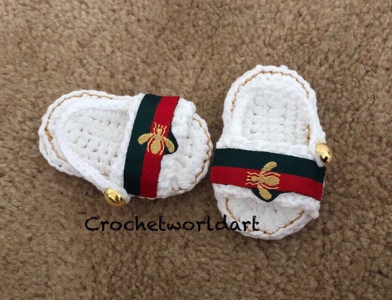9b9f4d5a9556f White Crochet baby sandals gold bee style