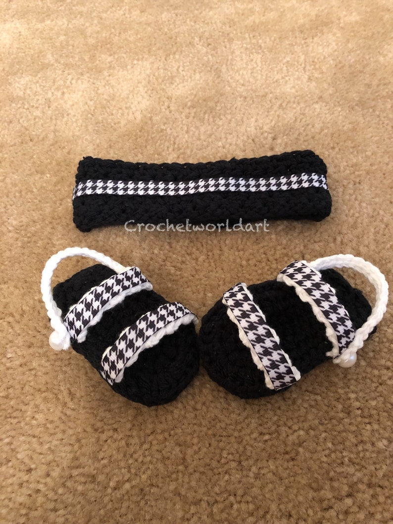 984e60cd93a2d Houndstooth black and white crochet baby sandals and handband fits girls  and boys