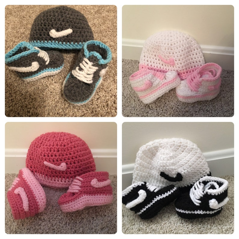 Nike Crochet Baby set of a Pair of Shoes with or without hat