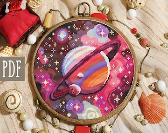 Space cross stitch pattern. Modern cross stitch pattern. Galaxy cross stitch pattern.