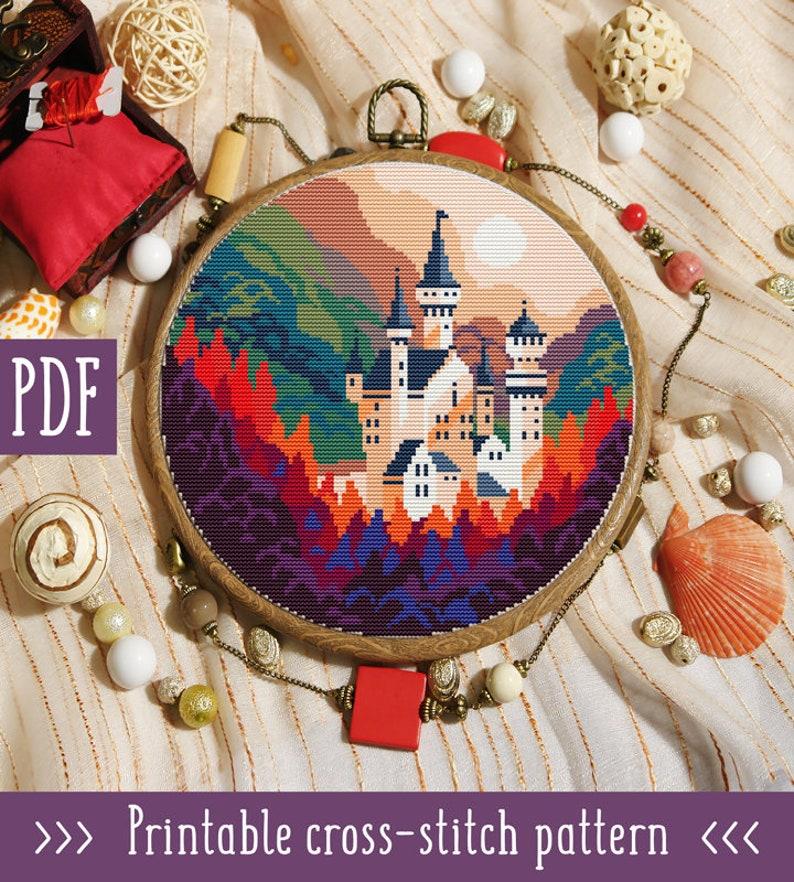 Modern cross stitch pattern  Castle cross stitch  Nature cross stitch  Hand  embroidery hoop art