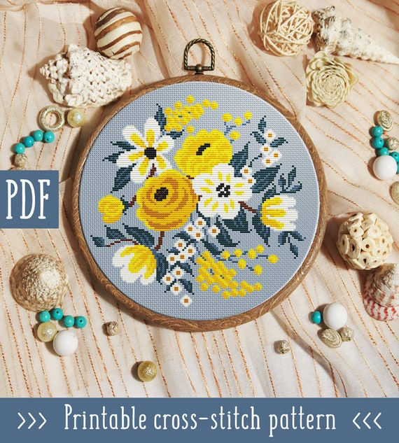 Modern cross stitch pattern. Flower cross stitch pattern. Floral cross stitch pattern. Hand embroidery hoop art