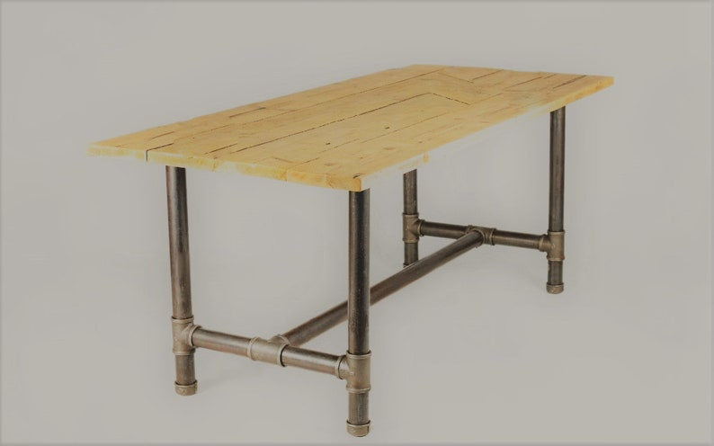 Item # 215 PINE PLANK Super heavy duty Table with 1 14 Steel Pipe Legs