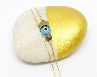 Parikia Blue Duo bracelet, arrow chevron minimalist blue eye