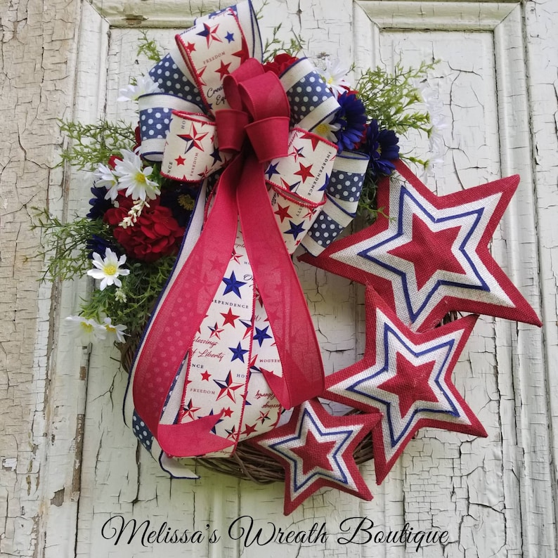 Summer Wreath Fourth of July Front Door Wreath Spring Decor Spring Door Wreath Summer decor Welcome wreath Patriotic wreath