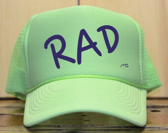 ecb14951ff7 Rad Trucker Hat   Neon Trucker Hat   80 s   90 s   Throwback Trucker Hat