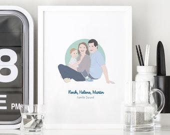 Family portrait custom poster