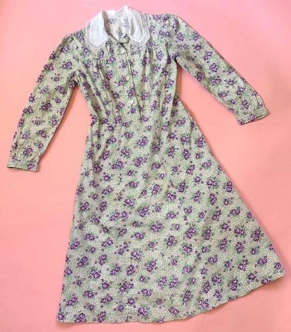 1930's Floral Cotton Day Dress - Vintage 30's Gre… - image 2