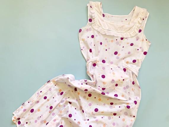 1930's Polka Dot Dress - Vintage 30's White Cotton